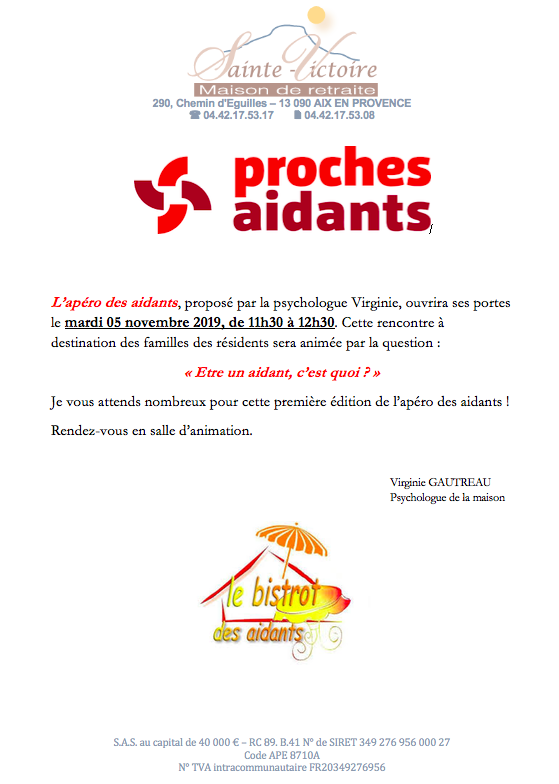 apéro pour les aidants à la maison de retraite Sainte victoire à Aix en Provence